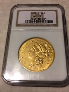 1858 S AU53 NGC LIBERTY DOUBLE EAGLE TYPE1 $20 GOLD COIN GREAT APPEAL  NOT PCGS