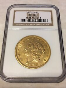 1865 AU50 NGC LIBERTY DOUBLE EAGLE TYPE 1 $20 GOLD COIN GREAT APPEAL  NOT PCGS