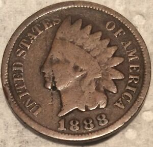 1888 INDIAN HEAD CENT IN CIRCULATED CONDITION WITH MAJOR ERROR