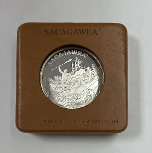 SACAGAWEA THE TRAIL OF LEWIS AND CLARK 1OZ SILVER PROOF COIN W/ CAP & WOOD BOX