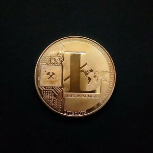 GOLD PLATED COIN LITECOIN COMMEMORATIVE CREATIVE ART VIRES IN NUMERIS MEDALLION