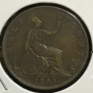 GREAT BRITAIN 1/2 PENNY KM 754 VF 1890
