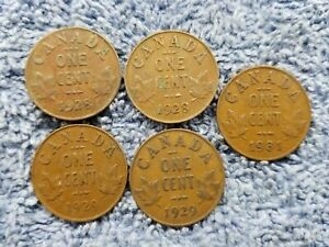 1928X2 1929X2 1931 LOT70 GEORGE V CANADA 1 CENTS