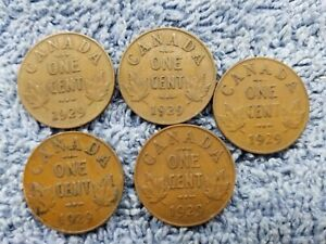 1929X5 LOT82 GEORGE V CANADA 1 CENTS