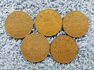 1931 1932 1933 1934 1935 LOT41 GEORGE V CANADA 1 CENTS