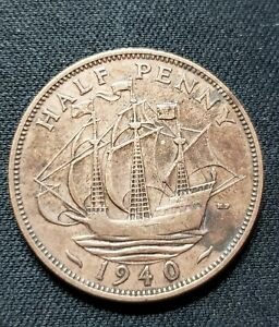 1940 GREAT BRITAIN HALF PENNY BRITISH COIN