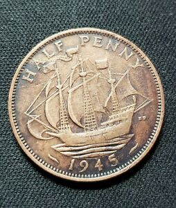 1945 GREAT BRITAIN HALF PENNY BRITISH COIN