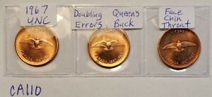 ERRORS LOT OF 3 1967 DOUBLING ON QUEEN ERRORS CANADA 1 CENT PENNY CA110A