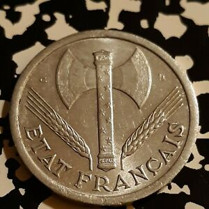WW2 FRENCH ALUMINUM 2 FRANC 1944 FRANCE OCCUPIED  KM904 COIN  VICHY
