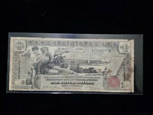1896 $1 ONE DOLLAR EDUCATIONAL SILVER CERTIFICATE CURRENCY NOTE   LARGE SIZE