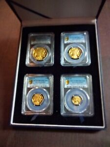 Click now to see the BUY IT NOW Price! 2008 W GOLD PR BUFFALOSET.PCGS PR70DCAM FIRST STRIKE. $50 $25 $10 AND$5 COINS
