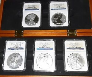 2011 W SILVER EAGLE 25TH ANNIVERSARY NGC MS/PF70 5 COIN SET EARLY RELEASES &CASE