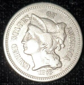 1 1868 BRILLIANT UNCIRCULATED  NICKEL THREE CENT PIECES COIN W/CAPSULE