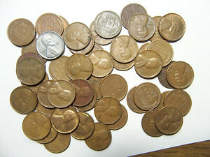 ROLL OF LINCOLN WHEAT CENTS P D 1940'S 1950'S R8