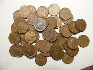 ROLL OF LINCOLN WHEAT CENTS P D 1940'S 1950'S R2