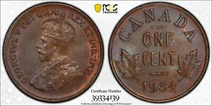 CANADA 1934 GEORGE V CENT. PCGS MS 64. 7 042 358 MINTAGE.