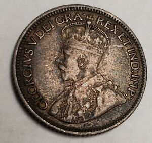 1917 CANADA 10 CENTS CANADIAN SILVER DIME 925 TONED