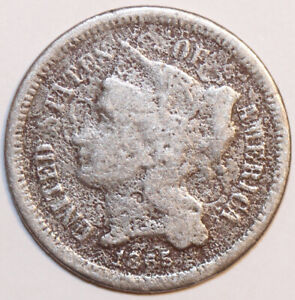 1865 NICKEL 3 CENT NICKEL. BEAT TO HELL        0005