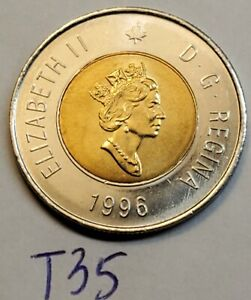 1996 CANADA 2 DOLLAR TOONIE COIN 1ST YEAR OF ISSUE T35B