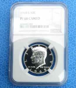 1969 S NGC PROOF 68 CAMEO KENNEDY HALF DOLLAR CERTIFIED GEM PF 68 CAM 50C COIN