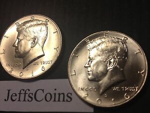 2016 P&D KENNEDY HALF DOLLARS KENEDY PD MINT ROLL CLAD 50 2 UNCIRCULATED COINS