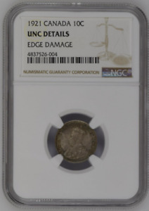 1921 CANADA 10C NGC UNCIRCULATED DETAILS 10 CENTS SILVER COIN