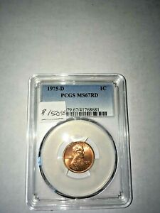 1975 D  PCGS  GRADED MS 67 RED LINCOLN MEMORIAL CENT