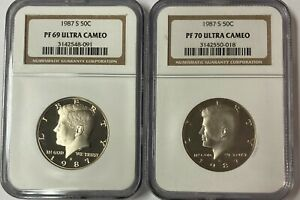1987 S  KENNEDY NGC PF 70 AND  69 ULTRA CAMEO  2 COIN SET