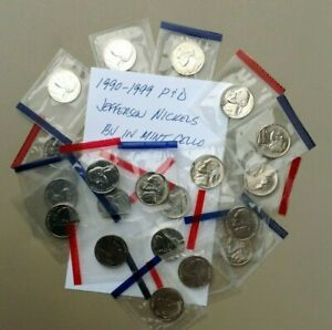 Click now to see the BUY IT NOW Price! 1990 1999 P D JEFFERSON NICKEL BU UNCIRCULATED 20 COIN SET ORIGINAL MINT CELLO