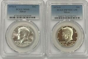 1976 S KENNEDY SILVER HALF DOLLAR PROOF PCGS MS 68 AND PR70DCAM   2 COIN SET