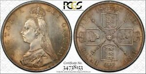 Click now to see the BUY IT NOW Price! GREAT BRITAIN 1887 VICTORIA DOUBLE FLORIN ARABIC 1. PCGS MS 64. 483 000 MINTAGE
