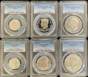 Click now to see the BUY IT NOW Price! 1976 S SILVER $1 50C 25C PCGS MS67 & PR69DCAM 6 COIN SET  ITEM  5