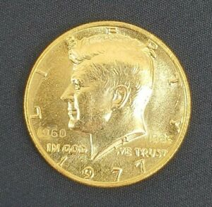 1977 JOHN KENNEDY 24K GOLD PLATED DBL STAMPED 1960 1985 25TH FRANK GASPARRO