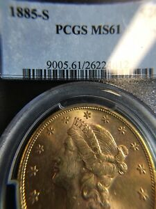 1885 S US GOLD $20 LIBERTY DOUBLE EAGLE   PCGS MS61