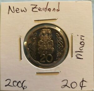 2006 NEW ZEALAND 20 CENTS COIN. BEAUTIFUL COIN. MAORI GOD ON REVERSE SIDE.