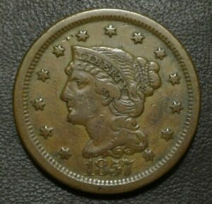 1857 BRAIDED HAIR LARGE CENT LARGE DATE     NICE KEY DATE WITH SOLID STRIKE
