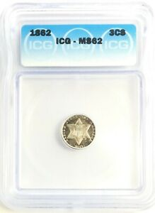 1862 THREE CENT SILVER 3C UNCIRCULATED ICG MS62