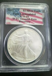 2001 SILVER EAGLE $1 PCGS GEM UNCIRCULATED 9 11 01  WTC GROUND ZERO RECOVERY