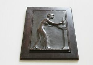 VICTOR DAVID BRENNER 1904 BRONZE PLAQUE VDB WOMAN REACHING FOR A VASE