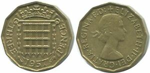 THREEPENCE 1957 UK GREAT BRITAIN COIN AG930.1.C