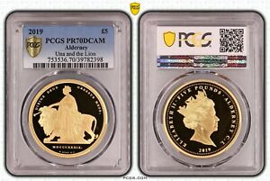 Click now to see the BUY IT NOW Price! 2019 ALDERNEY UNA AND THE LION 5 POUNDS PCGS PR70DC