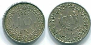 10 CENTS 1962 SURINAME NETHERLANDS NICKEL COLONIAL COIN S13217.U