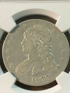 1833 CAPPED BUST HALF DOLLAR. VF30 SHIPS FREE
