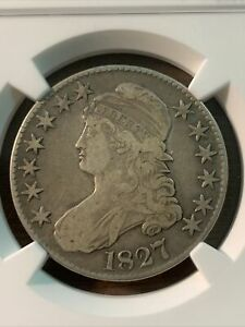 1827 CAPPED BUST HALF DOLLAR. F15 SHIPS FREE