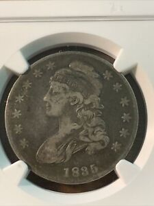 1835 CAPPED BUST HALF DOLLAR. VF20 SHIPS FREE.