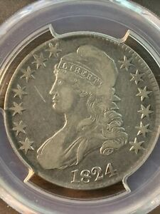 1824 CAPPED BUST HALF DOLLAR. OVERTON 108 SHIPS FREE