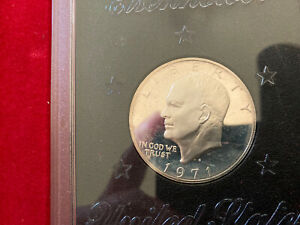 1971 S $1 SILVER EISENHOWER PROOF DOLLAR  40  SILVER IN GOVT. BROWN BOX