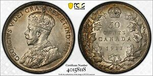 CANADA 1917 GEORGE V FIFTY CENTS 50 CENTS. PCGS AU 58. 752 213 MINTAGE.