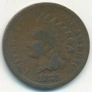 1875 INDIAN HEAD CENT SEMI KEY DATE NICE CIRCULATED CENT SHIPS FREE  INV:6