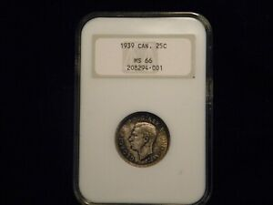 1939 CANADA 25 CENTS NGC MS66